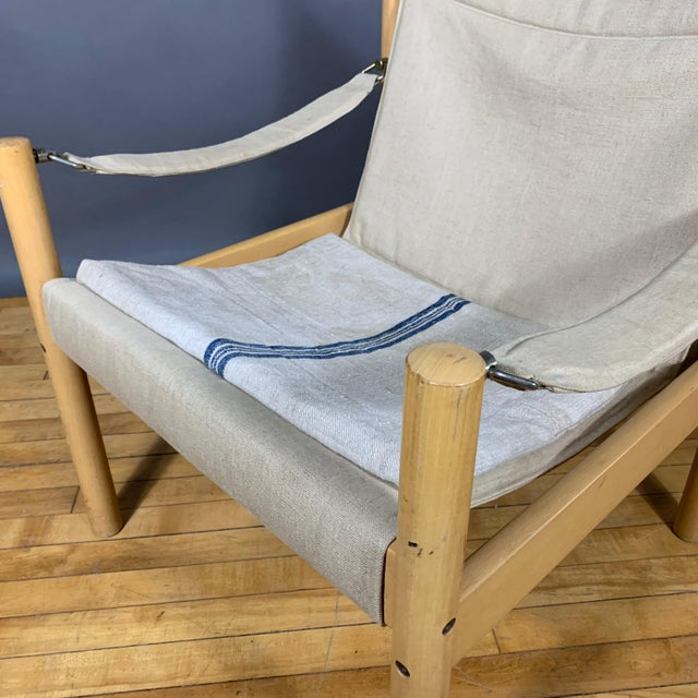 Oak & Canvas Safari Chair, Grainsack Seat, Worts Style For Sale - Image 9 of 11