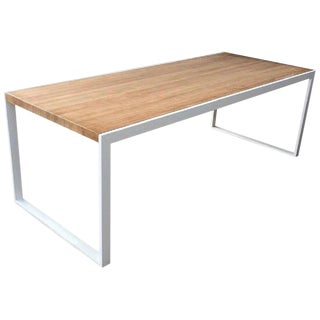 New Dining Table for Indoor and Outdoor in White Iron Structure With Wood Top For Sale