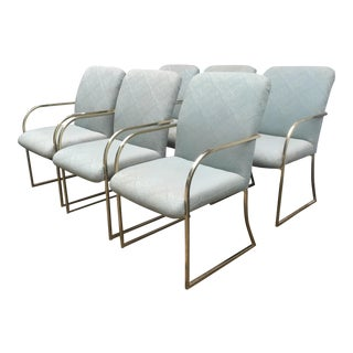 Vintage Milo Baughman Style Brass Dining Chairs - Set of 6 For Sale