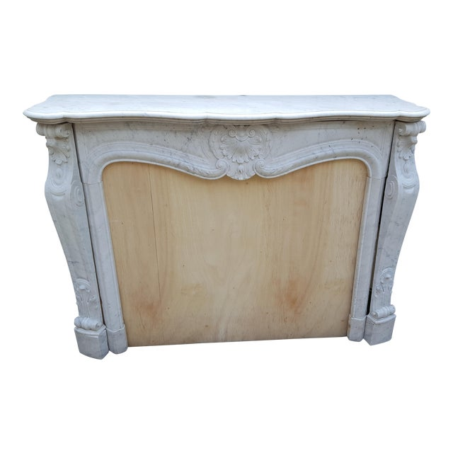 Antique Louis XV Style Carrara Marble Fireplace - Image 1 of 10