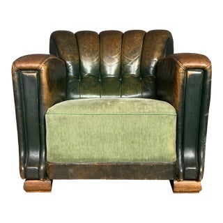 French Art Deco Green Leather Club Chair, 1930s For Sale