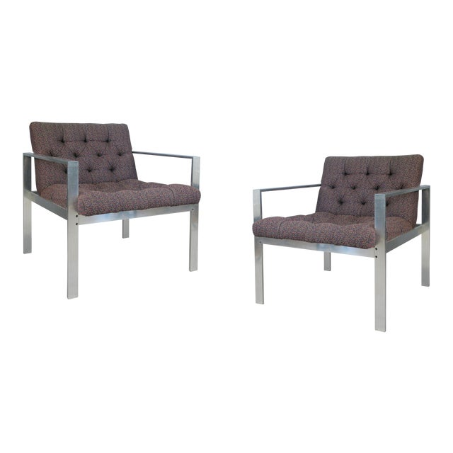 1960s Vintage Aluminum Frame Lounge Chairs by Harvey Probber-a Pair For Sale