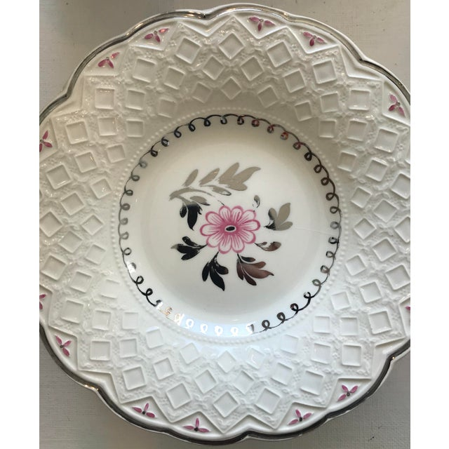 Bone Vintage Wedgwood of Etruria and Barlaston Fine Bone China Pink & Silver Lustre Scalloped Edge Plates - Set of 7 For Sale - Image 7 of 13