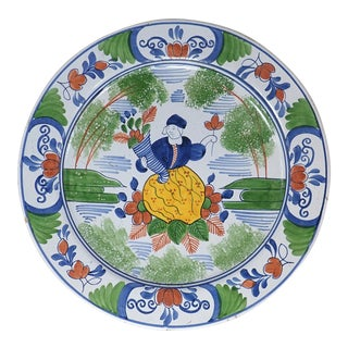 Antique 18th Century Dutch Delft Girl and Flowers Polychrome Porcelain Plate, Circa 1790 For Sale