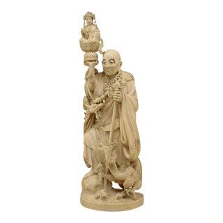 Asian Japanese Style Okimono Carved Bone Figure of Man