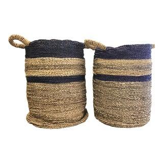 Digs Design Co. Blue Basket Set - a Pair For Sale