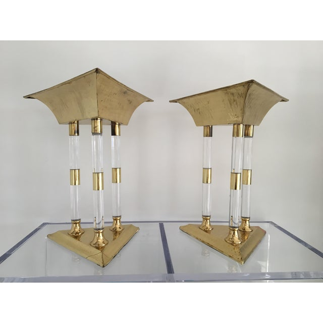 Pair of Italian table top objet in brass and acrylic-- in the Seccessionist style but Italian from the 1980s. The forms...