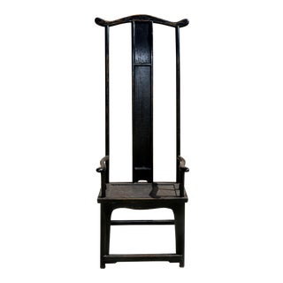 1960s Hollywood Regency Ming-Style Black Lacquered Wooden Tall Chair