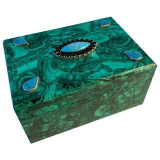 Malachite Box With Semi Precious Stones Set in Sterling For Sale