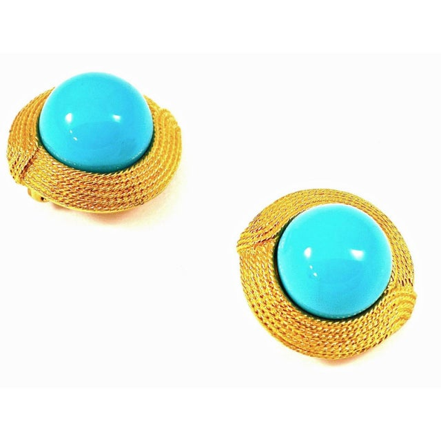 Ciner Ciner Cabochon Turquoise Earrings For Sale - Image 4 of 4