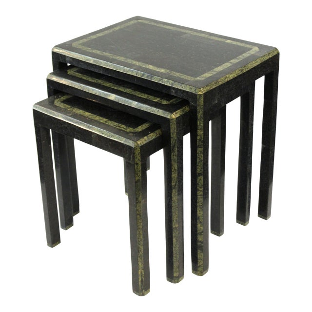 Maitland-Smith Modern Nesting Tables in Tessellated Stone - Set of 3 For Sale