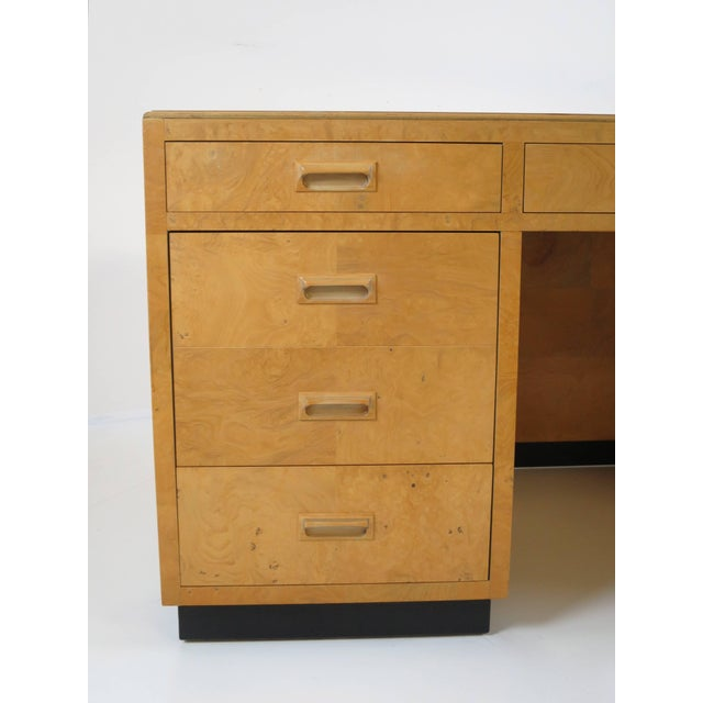 Scene two executive desk by Henredon. Features two large filing drawers with locking mechanism, locking center drawer and...