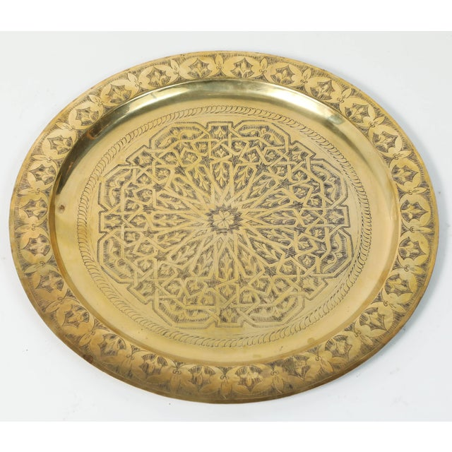 Brass Polished Moroccan Brass Tray Side Table on Spider-Leg For Sale - Image 7 of 8