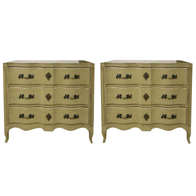 French Provincial Style Painted Chests  A Pair   Image 1 Of 8