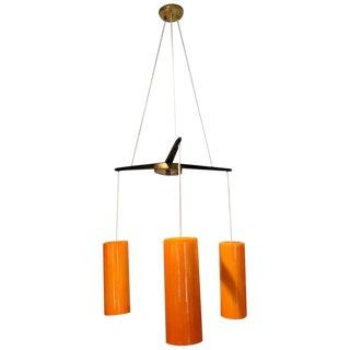 Holmegaard Three-Light Chandelier, in Orange For Sale
