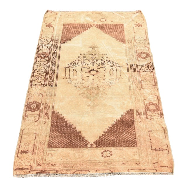 Vintage Turkish Oushak Wool Rug - 2′11″ × 4′7″ For Sale