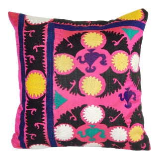 """Suzani Pillow Cases Fashioned From a Vintage Suzani 18"""" X18"""" For Sale"""
