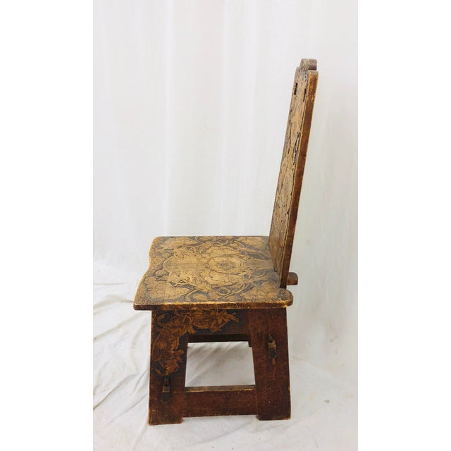 Brown Antique Arts & Crafts Hand Carved Chair For Sale - Image 8 of 9