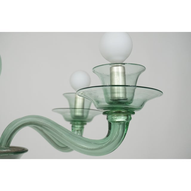 Italian Mid-Century Modern Solid Aqua Murano Glass Chandelier For Sale - Image 3 of 11
