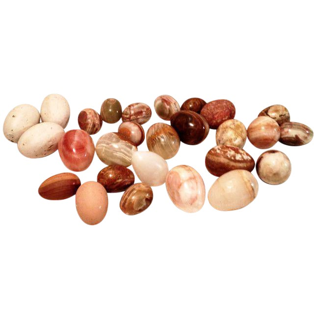Wood, Marble & Alabaster Eggs - Set of 25 For Sale