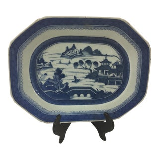 Antique Blue and White Canton Platter For Sale