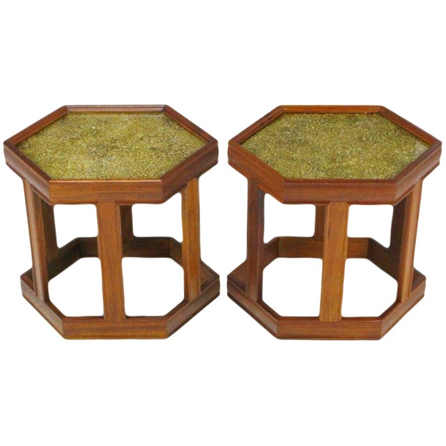 Pair Brown Saltman Walnut & Reverse Painted Glass Side Tables For Sale