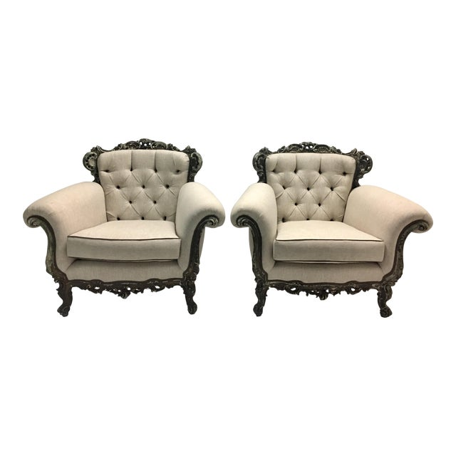 Antique French Victorian Lounge Chairs - A Pair For Sale - Antique French Victorian Lounge Chairs - A Pair Chairish