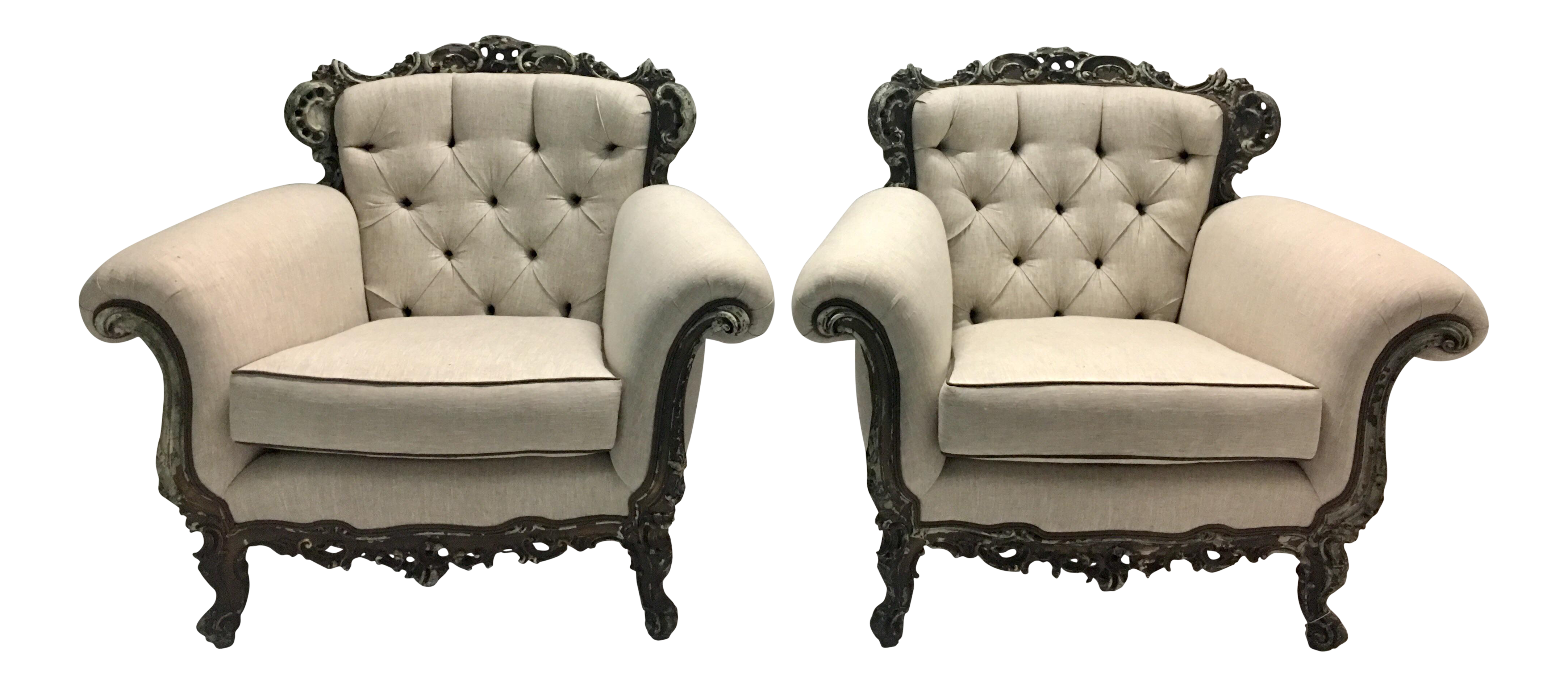 Antique French Victorian Lounge Chairs   A Pair