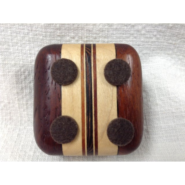 African 20th Century African Padauk Wenge Maple Ring/Trinket Box For Sale - Image 3 of 6