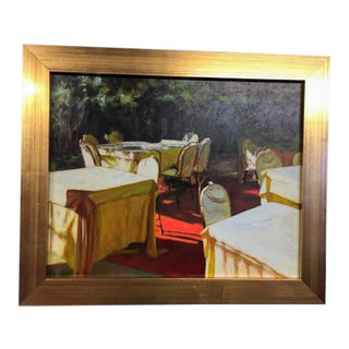 "1980s Xue Jian Xin ""The Outdoor Banquet Scene"" Oil Painting For Sale"