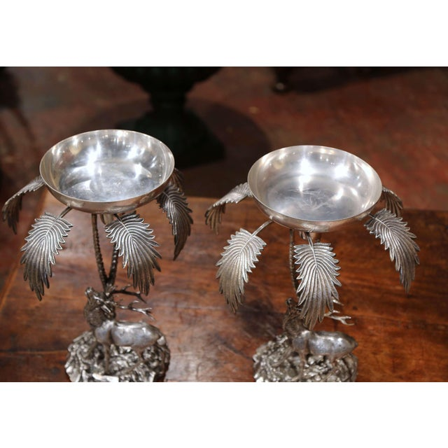 Pair of Early 20th Century Silvered Bronze Centerpieces With Deer Sculpture For Sale - Image 4 of 12