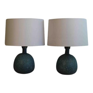 A Pair Of Granite Like Murano Glass Lamps For Sale