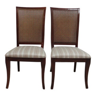 National Mount Airy French Regency Cherry Cane Back Dining Chairs - a Pair For Sale