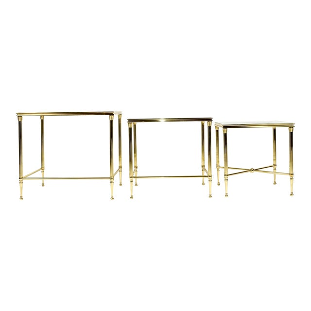 Brass & Glass Nesting Tables - Set of 3 For Sale