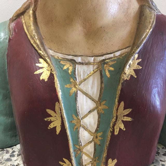 Hand Painted Paper Mache Female Bust For Sale - Image 4 of 11