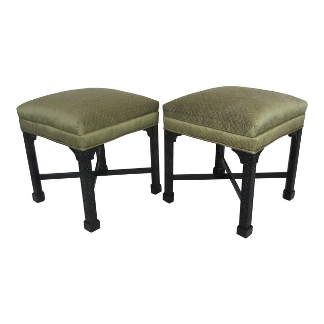 Vintage Chinese Chippendale Style Stools - a Pair For Sale
