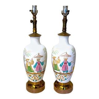 English Chinoiserie Bristol Opaline Glass Vases, Now as Lamps - a Pair For Sale