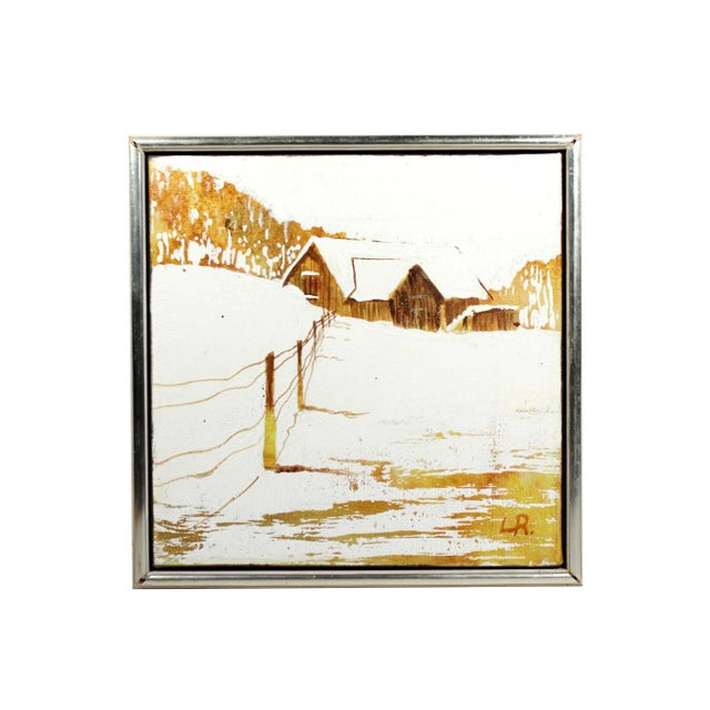 """1960s Mid-Century Winter Snow Farmhouse Small 11"""" Square Oil Painting - Signed & Frame For Sale - Image 5 of 5"""