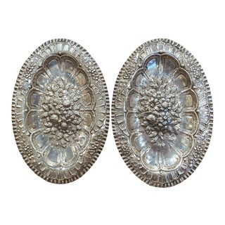 19th Century French Repousse Silver Oval Wall Plaques - a Pair For Sale