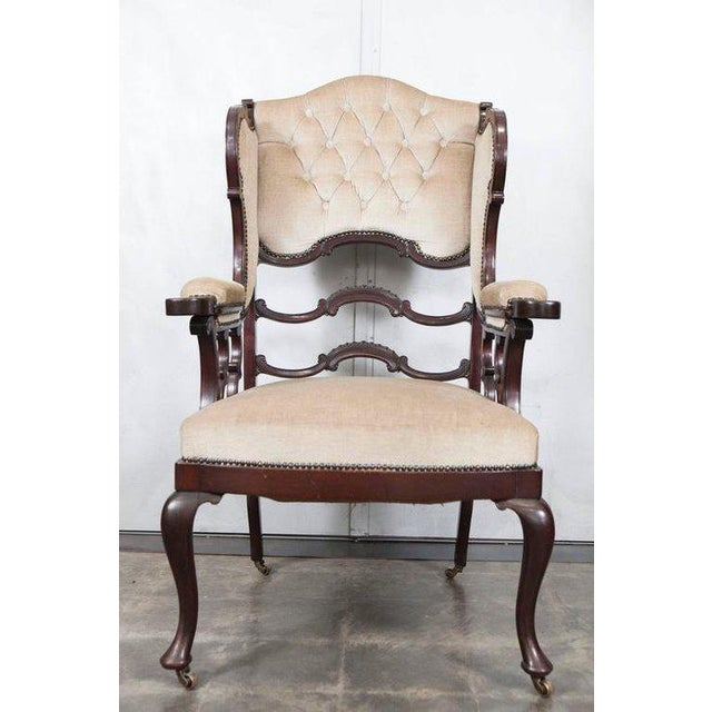 Mahogany Wingback Armchair For Sale In Los Angeles - Image 6 of 6
