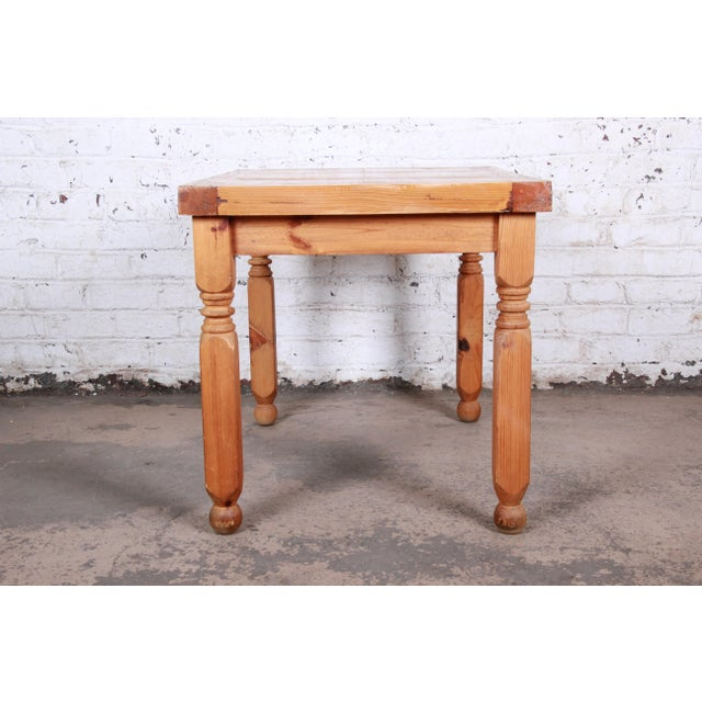 Vintage Rustic Solid Pine Writing Desk For Sale - Image 9 of 11