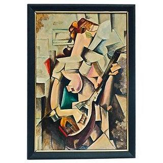Art Deco Cubist Musician Oil Painting For Sale