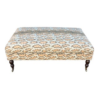 Tan Linen Rectangular Ottoman For Sale