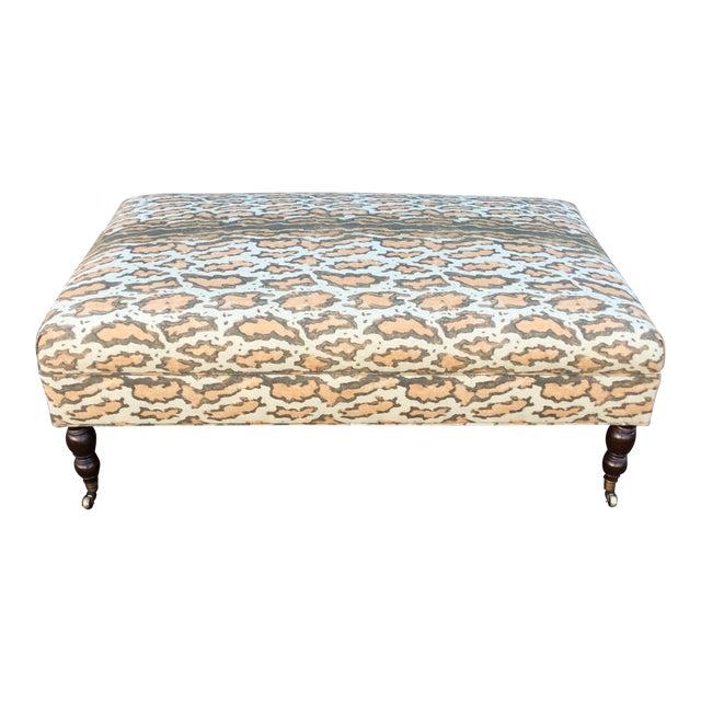 Tan Linen Rectangular Ottoman For Sale