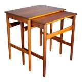 Image of 1960s Danish Modern Hans Wegner Teak Nesting Tables - Set of 2 For Sale