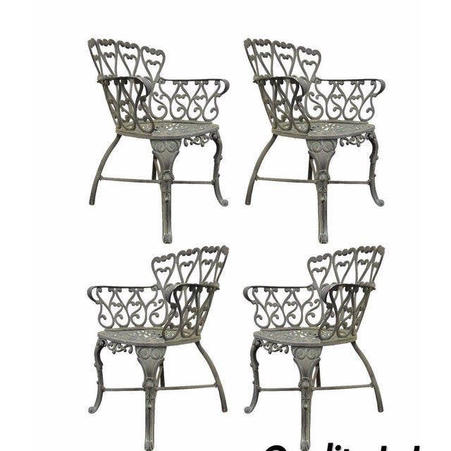 Vintage Cast Aluminum Heart Back French Style Patio Chairs - Set of 4 For Sale - Image 11 of 11