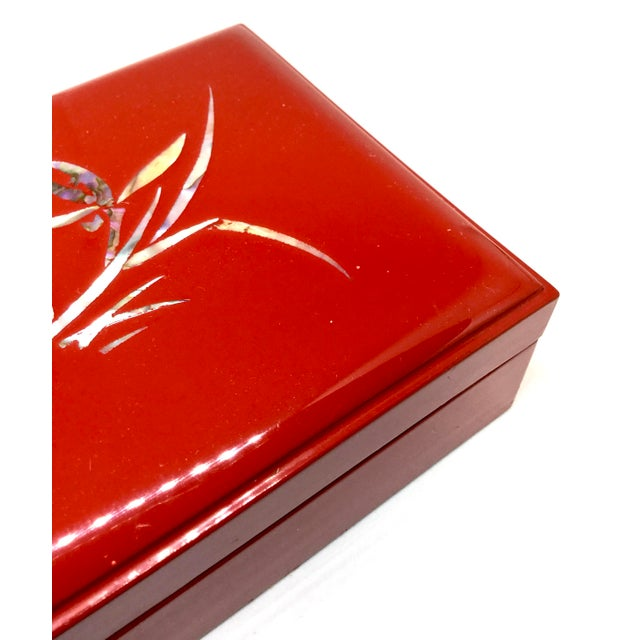 1980s Vintage Red Japanese Lacquered & Mother of Pearl Box For Sale - Image 5 of 13