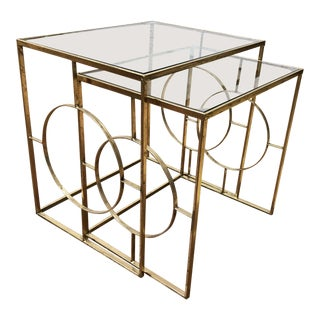 - Contemporary - Gold Finish + Glass Nesting Side Tables For Sale