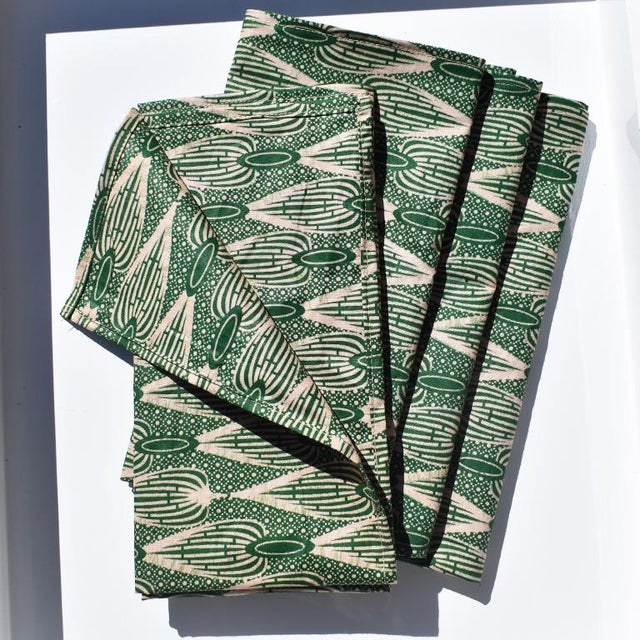2020s African Wax Formal Cloth Dinner Napkins in Green Block Print, Set of 4 For Sale - Image 5 of 8