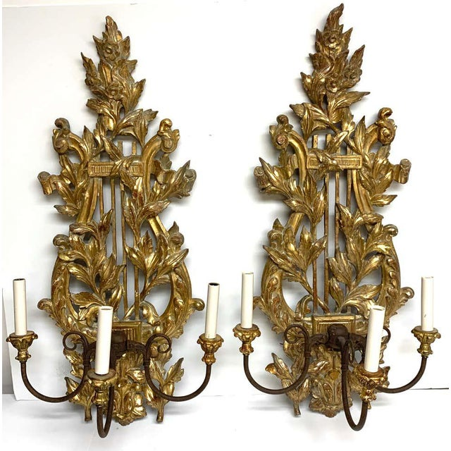 Mid 20th Century Pair of French Carved Giltwood Lyre Motif Three Light Wall Sconces For Sale - Image 5 of 10